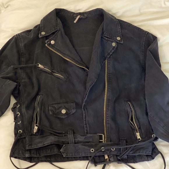 Free People denim motorcycle jacket